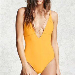 NWT Forever 21 Tangerine one piece swim suit Sz S